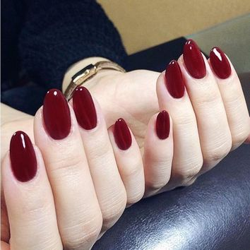 24pcs/Set Vintage Wine Red False Nails Middle Long Round Head Full Nail Tips with Glue Pre-Finished OL Fake Nail Art Decortaion