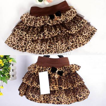 Fashion Kid Girl Korean Tutu Ruffle Leopard Princess Velvet Pleated Skirts L07