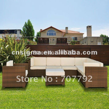 All Weather Wicker outdoor sectional seating- Seats 7