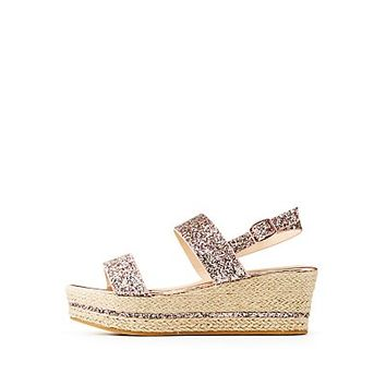 Bamboo Glitter Espadrille Wedge Sandals | Charlotte Russe
