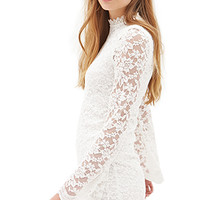 FOREVER 21 High-Neck Lace Dress Cream