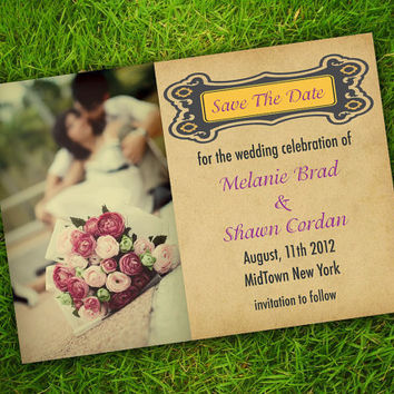 DIY Printable - Vintage Edwardian Baroque Classic Customizable Photo Save The Date Invitation Card