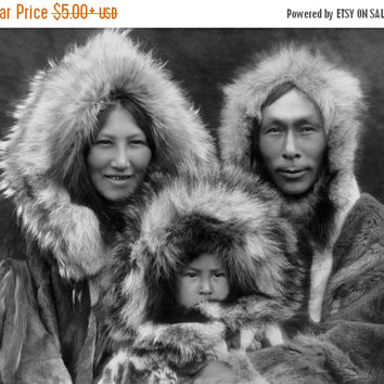 Winter Sale Inupiat Family from Noatak Alaska 1929, Eskimo Family