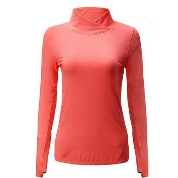 Solid Yoga Running Workout T-Shirt Tops with Long Sleeve