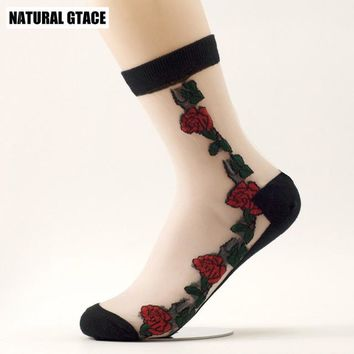 Popsocket rose Fashion Crystal Silk Princess Anti hook wire Sexy Spring Summer brand new High Quality lace Women Socks