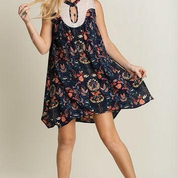Retro Floral Dress - Navy