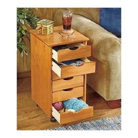 End Table Wood Storage Cart Stand Portable Crafts Kitchen Bedroom 6 Drawer Maple