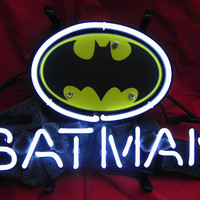 "Robin and Batman Logo Beer Bar Real Glass Tube Neon Light Sign 14""x9"" inches Handcrafted"