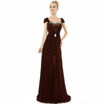 Elegant A line Chiffon Cap sleeve Beaded Special Occasion Long Prom Dresses