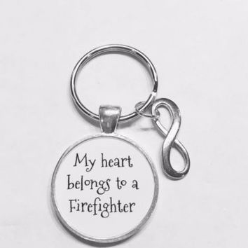 My Heart Belongs To A Firefighter Fireman Wife Girlfriend Infinity Gift Keychain