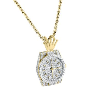 Sterling Silver Men's 14k Gold Finish Luxury Watch Logo 3D Fully Iced Out Pendant Free Box Chain 24""