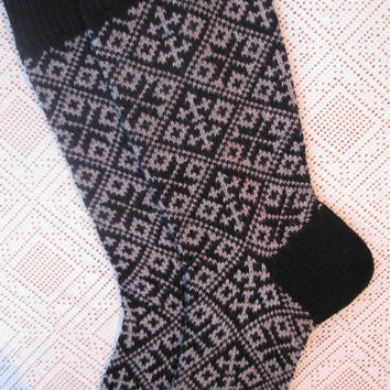 Knitted Norwegian men's socks warm wool socks Unisex socks Norwegian cross. Qualitet works. Black socks  from the Estonian natural 100% wool