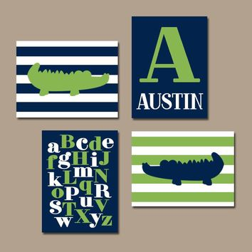 ALLIGATOR Wall Art, BABY BOY Nursery Wall Art, Boy Bedroom Decor, Crocodile Stripes Navy Green, Abc Alphabet Set of 4, Canvas or Print