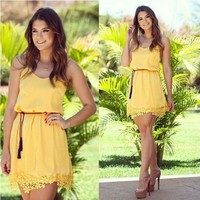 Cute Tropical Yellow Lace Dress