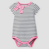 Baby Girls' Short-Sleeve Stripe Bow Bodysuit Baby Cat & Jack™ - Black/White