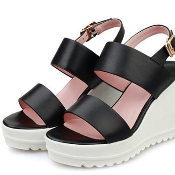 real genuine leather casual platform slingbacks wedge high heel sandals sexy  heeled ladies shoes size 34-39 R6217