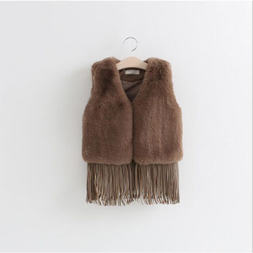 Girls thick grass fringed leather vest 2016 winter new European and American children's clothing Fringed hem stitching vest