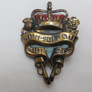 Heraldic Crown and Shield Brooch, Vintage Crown Pin, Vintage Shield