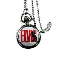 Elvis Presley Watch Pendant Clock Guitar Chain Fashion Stainless Metal Necklace