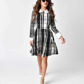 Smak Parlour Black & Ivory Plaid Flare Dress