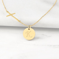 Gold Personalized Cross Necklace with Charm
