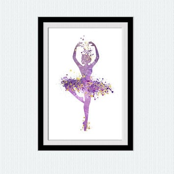 Ballerina watercolor poster Ballerina colorful print Ballet art print Dancing girl poster Home decoration Wall hanging art Kids room W323