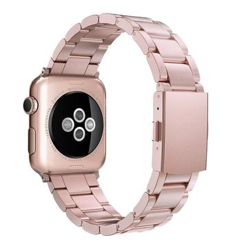 Simpeak Apple Watch Band, Adjustment Solid Stainless Steel Band Strap for Apple Watch 38mm Series 1 Series 2 Series 3 - Rose Gold for Women Girl