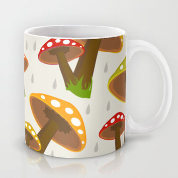Retro Mushrooms Mug by Elizabeth Andersson