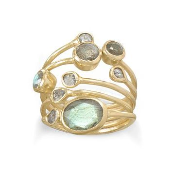 14K yellow gold stacked bezel set labradorite and polki diamond ring