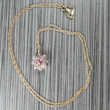 Vintage Diamond and Pink Topaz Necklace Vintage Diamond Necklace Topaz Necklace Diamond Cluster Pendant 14k Gold Drop Necklace Pink Stone