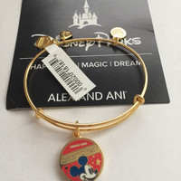 Disney Parks Mickey Mouse Banner Bangle by Alex and Ani Gold Finish New Tags