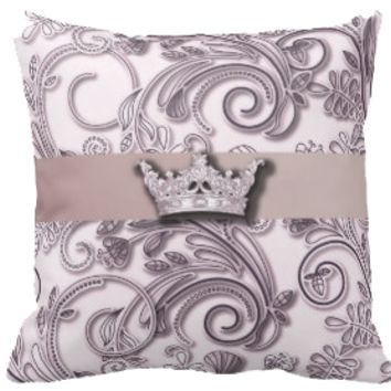 Mauve Scroll with Crown Pillow
