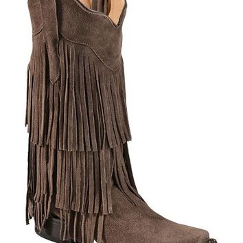 Tanner Mark Chocolate Suede Fringe Cowgirl Boots - Square Toe - Sheplers
