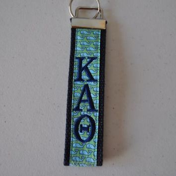 Preppy Vineyard Vines Inspired Whales Sorority(OFFICIAL LICENSED PRODUCTS) Monogrammed Key Fob Keychain Cotton Webbing Wristlet