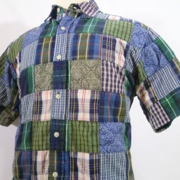 PATCHWORK SHIRT PLAID PAISLEY CHECK Cotton Men Size S Retro 2000 Blue Green Tan