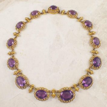 Early Victorian Amethyst Gold Necklace