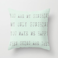 Throw Pillow Cover You Are My Sunshine (part 1) - Blue Grey - 16x16, 18x18, 20x20 - Nursery Bedroom Original Design Home Décor by Adidit