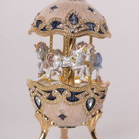 White Faberge Egg with Horse Carousel