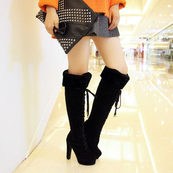 Round Toe High Heel Lace Up Boots