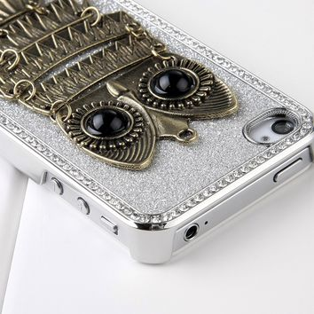 Pandamimi Deluxe Sliver Chrome Glitter Bling Crystal Rhinestone Owl Hard Case Skin Cover for Apple iPhone 4 4S 4G With Front and Back Screen Protector:Amazon:Cell Phones & Accessories