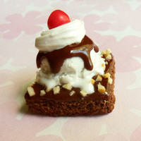 hot fudge brownie sundae magnet polymer clay