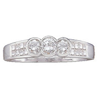 Diamond 3-stone Bridal Ring in 14k White Gold 0.51 ctw