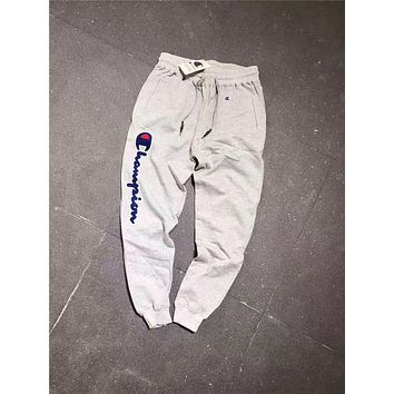 Champion Autumn sports men's trousers and cotton  Little feet pants  knitted terry trousers Gray