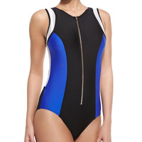 Women's On Your Mark Zip-Front Maillot Swimsuit - Luxe by Lisa Vogel - Onyx/Cobalt