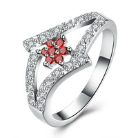 Luxury Rose Crystal Ring Double Man Letter Beautiful Women Ring Jewelry