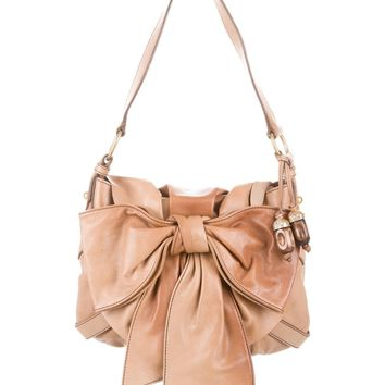 YSL Yves Saint Laurent Bag Sac Bow Tan Leather Flap Front Small Shoulder Bag