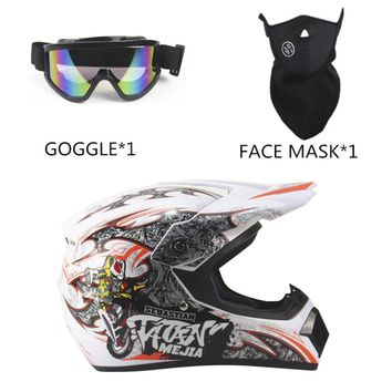 3PCS/SET Breathable Motorcycle Helmet Lightweight Full Face Racing Motorcycle Safety Unisex ABS Shell Motorbike Helmet