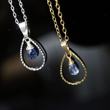 Genuine Tiny Blue Sapphire Necklace -  Sterling Silver Briolette Sapphire Choker - Gold Filled Micro Faceted Sapphire Necklace