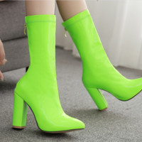 Hot style hot selling shiny leather pointed thick high-heeled boots