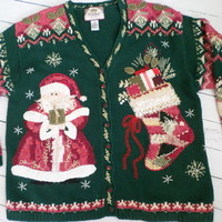 """Ugly Christmas Sweater"" Santa Cardigan"
